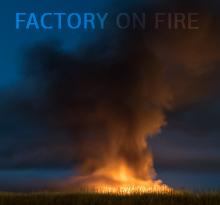 Factory Huge Fire Stock Footage 4K